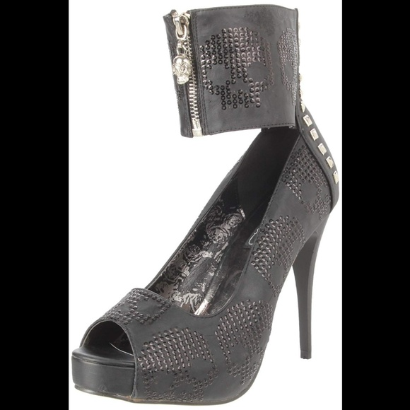 Iron Fist Digiskull Womens Glitter Skull Platform Heels in